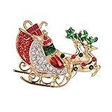 Hellery Broche De Cristal Austriaco Multicolor Joyas Preciosas Broche De Encanto De Pin De Feliz Navidad para Suéter, Vestido, Sombrero, Decoración De Bolsos, Coche de Navidad