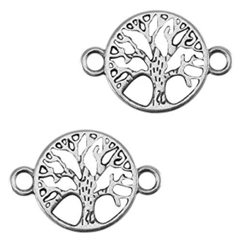 Sadingo Schmuckverbinder Lebensbaum Silber aus DQ Metall, Anhänger Lebensbaum zum Schmuck basteln, Armband selber Machen