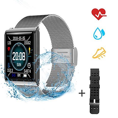 YJHome Smart Watch Impermeabile IP67 Activity Tracker Fitness cardiofrequenzimetro Pedometro Sonno Monitor Cronometro SMS Chiamata Notifica remota Telefoni Android iOS +1 Replaceable Watch Strap