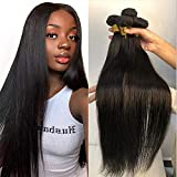 Mydiva Hair 8a Brazilian Virgin Straight Hair 3 Bundles 100% Unprocessed Human Hair Weave Extensions Natural Color Can Be Dyed and Bleached (22 24 26, straight)
