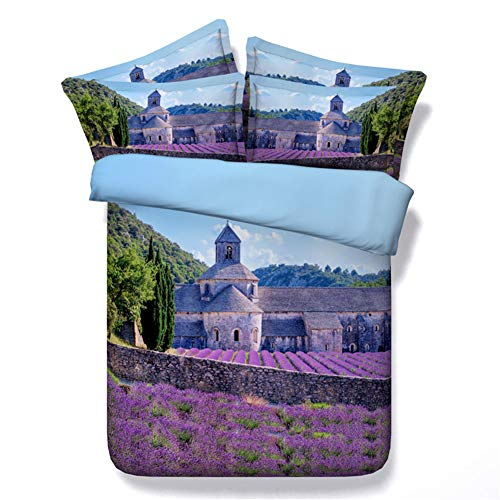 AYMAYO Bettwäsche-Sets, Provence Manor - Lavendelschloss Motiv, Atmungsaktive Mikrofaser 3-teilig Bettwäsche Bettbezug 135 X 200 cm 2 Kissenbezüge 50x75cm Mit Reißverschluss (200×200cm)