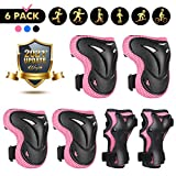 Kids Knee Pads Elbow Pads - Wayin Upgraded Youth Protective Gear Set Adjustable Safety Strap with Wrist Guards for 4~10 Girls Boys Rollerblading Cycling Bike Skateboard Scooter Riding Sports