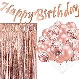 Cebelle Decoraciones Fiesta cumpleaños Oro Rosa, Suministros Bandera cumpleaños Colgante Brillante, 20 Globos de Confeti, 3.3 X 6.6 Feet de Papel Telón de Fondo de la Foto de Las Cortinas