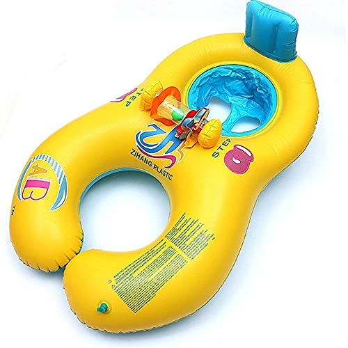 FIONAT Anillo de natación para bebé Plegable Flotador para bebé Accesorios para Piscina Inflable Balsa Doble Toy-E