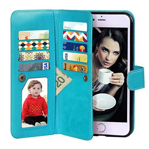 Vofolen 2 in 1 Case for iPhone 6 Case iPhone 6S Case Wallet Folio Flip PU Leather Case Protective Hard Shell Magnetic Detachable Slim Back Cover with Card Holder Slot Wrist Strap for iPhone 6 6S Blue