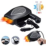 【2020 New Upgrade】Portable Car Heater,Auto Heater Fan,Car Windshield Defogger Defroster,2 in1 Fast Heating or Cooling Fan,12V 150W Auto Ceramic Heater Fan 3-Outlet Plug in Cig Lighter (Gray black)
