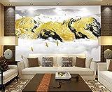 ZZXIAO Papel tapiz panorámico Tapiz de pared 3D Montaña de nieve dorada abstracta con pájaros voladores al amane para cocina Decoración Fotomural sala Pared Pintado Papel tapiz no tejido-430cm×300cm