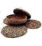 Set di 4 tovagliette rotonde in vimini naturale, sottopiatti, antiscivolo, resistente al calore + cestello portaoggetti, cestino, ciotola, contenitore, frutta, centrotavola.