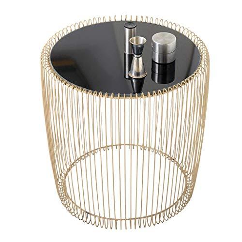Table basse, salon mini coin chambre table de chevet simple fer forgé miroir rond coin balcon petite table à thé petit bureau pour enfants (Color : Gold, Size : 45 * 46cm)