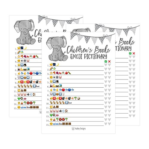 25 Elephant Emoji Children's Books Pictionary Baby Shower Game Party Ideas For Quiz Boy, Girl, Kids, Men, Women and Couples, Cute Classic Bundle Pack Set, Gray Gender Neutral Unisex Fun Coed Cards