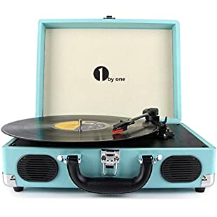 1byone Belt-Drive 3-Speed Portable Vinyl Turntable with Built in Speakers, Supports RCA Output / Headphone Jack / MP3 / Mobile Phones Music Playback, Turquoise:Tudosobrediabetes
