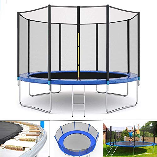 CTEGOOD Kindertrampolin Outdoor mit Netz, Zero Gravity Trampolin, inklusive mit Sicherheitsnetz, Leiter, Randabdeckung und Zubehör für Outdoor/Garten10FT
