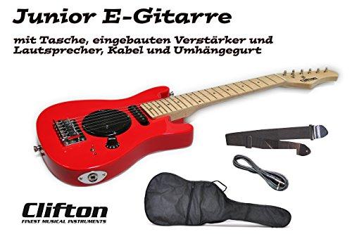Kinder E Gitarre Junior Clifton mit eingebauten Verstärker und Lautsprecher, Tasche und Umhängegurt