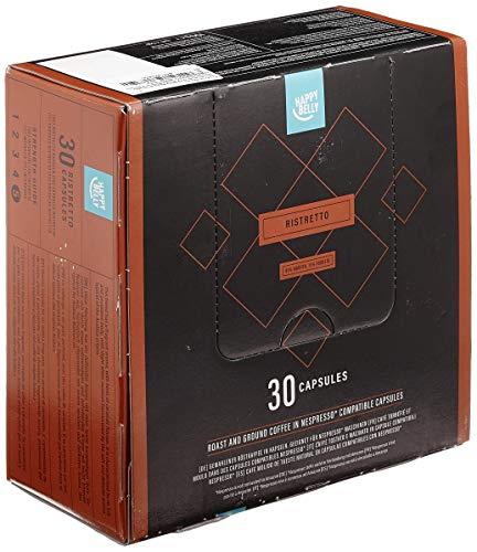 Amazon-Marke: Happy Belly Ristretto Gemahlener UTZ Röstkaffee in Kapseln (kompostierbar), geeignet für Nespresso-Maschinen, 30 Kapseln