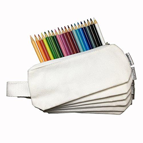 Augbunny Multi-Purpose 100% Cotton 12oz Canvas Zipper Pen Pencil Stationery Case Bag Cosmetic Makeup Pouch 6-Pack Photo #6
