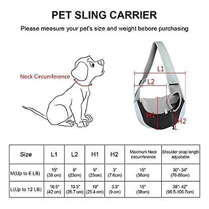You Pet Dog Sling Carrier, Breathable Mesh Travelling Pet Hands-Free Sling Bag Adjustable Padded Strap Front Pouch Single Shoulder Bag for Dogs Cats 7
