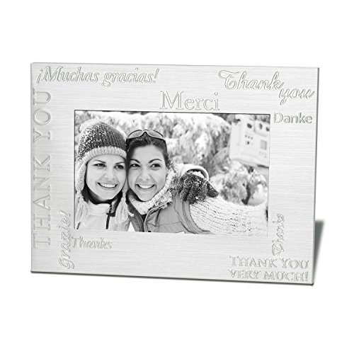Marketing Innovations Intl 4' x 6' Photo Frame Embossed Debossed Multilingual Appreciation Brushed Aluminium, Black Felt Backing, Glass Front. Silver