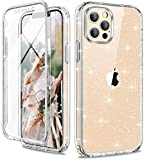Diaclara Designed for iPhone 12 / iPhone 12 Pro Case Glitter with [Built-in Screen Protector] Touch Sensitive [Never Yellow] Clear Full Body Protection Shockproof Case Sparkly for iPhone 12/12 Pro