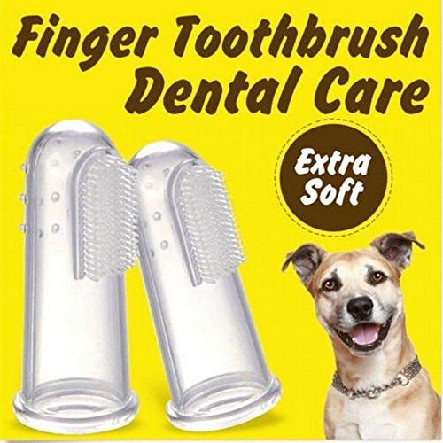 Bazaar 3 stuks zachte vingertandenborstel, voor het verwijderen van tandsteen voor honden