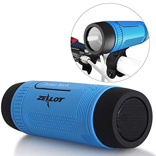 Bluetooth Lautsprecher Outdoor, Zealot Tragbarer Bluetooth Speaker mit LED Taschenlampe, 4000mAh Power Bank, Freisprechfunktion für Fahrrad, Reise (Blau)