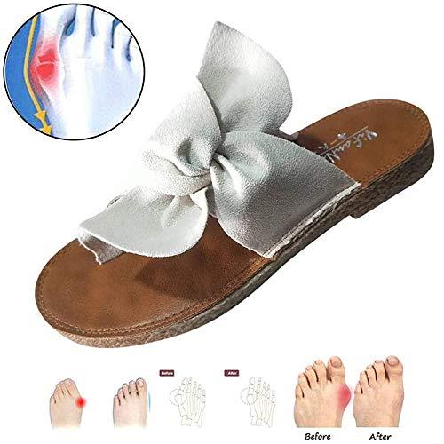LOVEXIN Sandalias de Mujer con Lazo para Mujer Cómodas Zapatillas de Verano Deslizamiento Zapatos de Caminar Casuales Zapatos de Viaje Caucho,Blanco,37