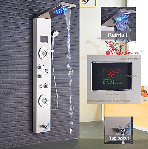 LED Duschpaneel aus rostfreiem Edelstahl mit Temperaturanzeige und 2 Massagefunktionen Farbe: Nickel