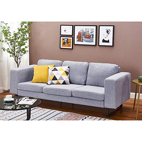 Panana Polyester Linen Fabric Sofa with Iron Feet Modern Soft Corner Couch Settee for Lounge Living Room (Grey, 3 Seater)