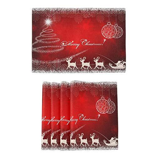 Esteras Rojas De Las Mesas De Cocina De Los Copos De Nieve del Árbol De Abeto De La Navidad para Cenar Las Esteras De Navidad Tapetes De Cocina Resistentes Al Calor