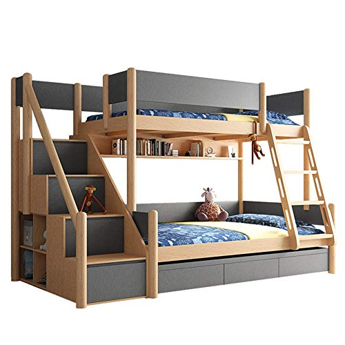 DZWJ Twin Over Full Bunk Bed with Stairs, Solid Wood Bunk Bed Frame with Side Storage Shelves for Kids Teens