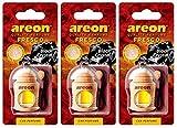 AREON Fresco Deodorante Auto da Appendere Cristallo Nero Fresh Specchietto Pendente Boccetta Legami 3D (Set x 3)