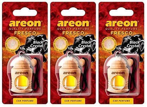 AREON Fresco Auto Duft Schwarzer Kristall Hängend Glas Duftflakon Flakon Holz Anhänger Spiegel 4ml (Pack x 3)