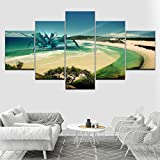 KDSFHLL 5 Pinturas Consecutivas Arte de la Pared Lienzo Impreso Modular Obra de Arte 5 Panel/Set Pintura Modelo de avión para Sala de Estar Decoración Playa (Sin Marco)