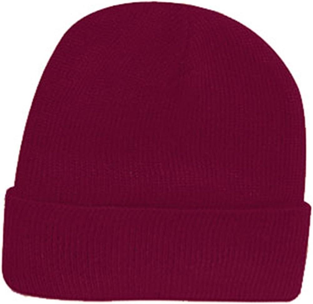 Maroon Purple Acrylic Knit Winter Beanie Toque Hat