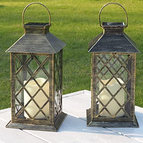 Lanterne Solare da Esterno | 2 Pezzi | Lanterne per Candele da Esterno | Adatto Come Lampade Da Tavolo | IP65 impermeabile