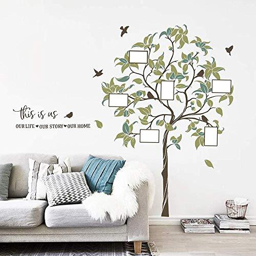 FFVVE Calcomanía de pared grande para árbol genealógico, marco de fotos, pegatinas de pared, dormitorio, sala de estar, sofá, TV, fondo de pared (h:156 cm)