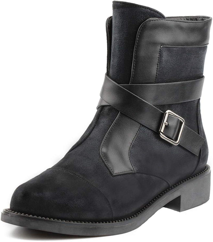 SaraIris Women's Faux Suede Low Heel Buckle Strap Zipper Winter Ankle Booties