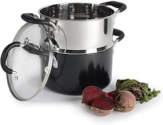 ProCook Gourmet Non-Stick - Set Cuiseur Vapeur Induction - 20cm / 2 Niveaux - Marmite Antiadhésive & Panier Vapeur Inox - ...