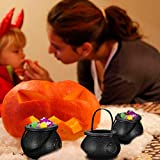 STOBOK 12 Stück Hexenkessel Schwarz,kleine Hexe Süßes oder Saures Süßigkeiten Halter Halloween Candy Bucket - 3