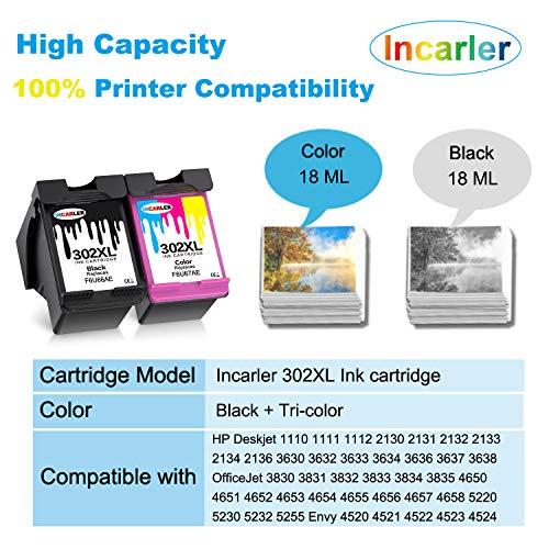 Incarler 302XL Remanufacturado Cartuchos de Tinta Compatible con Tinta HP 302 para HP Deskjet 3630 2130 1110 3636 Officejet 5230 3830 4650 5232 5220 5255 Envy 4520 4524 4527 (1 Negro 1 Tri-Color)