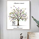 Libro de visitas de Pintura de Lienzo de Huellas Dactilares Personalizado Gratis DIY mi Primera comunión Recuerdo niño niño árbol de Suministro de Bautismo 40x60 cm