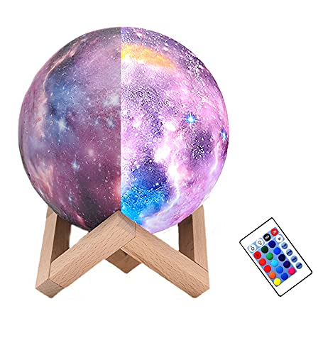 Moon Lamp Kids Night Light Galaxy Lamp 5.9 inch 16 Colors Light 3D Printing Starry Moon Night Light with Stand Remote Control Touch USB Rechargeable, Moon Light Lamps for Kids Friends Family Gifts
