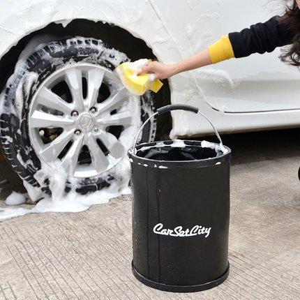 Portable Auto waschen Eimer schwarz Angeln Bootfahren Camping Reinigung 13L Mehrzweck-Roll-zusammenklappbar water-black