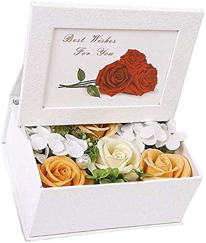 Jabones de flores de rosas perfumadas en caja de marco de fotos Jabón de rosas Flores artificiales para el día de San Valentín, el día de la madre, la boda de cumpleaños - Naranja