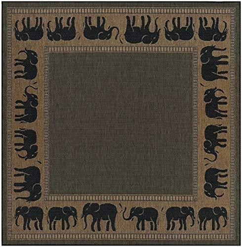 Couristan Recife Elephant Square Rug, 7-Feet 6-Inch, Cocoa/Black