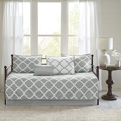 Madison Park Essentials Merritt Reversible Daybed Cover-Fretwork Print, Diamond Quilting All Season Cozy Bedding with Bedskirt, Matching Shams, Decorative Pillow, 75'x39', Grey 6 Piece