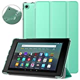 Dadanism All-New Amazon Kindle Fire 7 Tablet Case (9th Generation, 2019 Release), [Flexible TPU Translucent Back Shell] Ultra Slim Lightweight Trifold Stand Cover with Auto Sleep/Wake - Mint Green