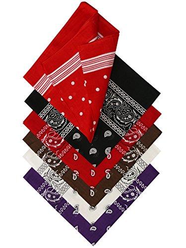 Harrys-Collection Unisex Bandana Bindetuch 100% Baumwolle (1 er 6 er oder 12 er Pack), Farbe:Sortiment 3