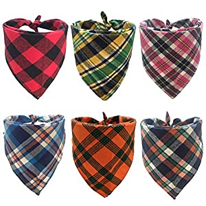 Blaoicni Dog Bandanas Pet Scarf Cute Plaid Triangle Scarf for Puppy Cat Kitten and Other Animals(6 Pack)