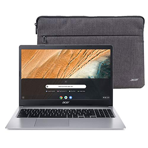 "Acer Chromebook 315 15.6"" HD Intel N4000 4GB RAM 32GB eMMC Webcam BT Chrome OS + Protective Sleeve, Silver (NX.HKBAA.002)"