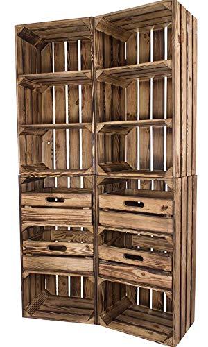 4er Paket Vinterior geflammt 2X Holzkiste mit Schublade 2X ohne 75x40x31cm schmal Regal Obstkisten Weinkisten Apfelkisten groß Bücherregal Holzregal
